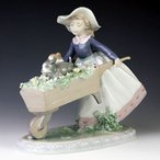 リヤドロ(Lladro リアドロ 陶器人形 置物) 犬と少女 乗せてあげる#ldr-5460