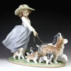 リヤドロ(Lladro リアドロ 陶器人形 置物) 犬と少女 仔犬たちの行進#ldr-6784