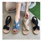 夏の大活躍サンダル レディース フラット棉麻素材/柔らかい素材  スリッパ フラワー  ぺたんこ ローヒール 歩きやすい  靴 シューズ