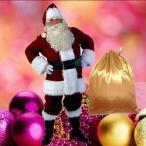 短納期【送料無料】サンタ コスプレ サンタ 衣装 メンズ 男性 ゴージャス トップス ズボン 帽子 ひげ 9点セット  大きいサイズ X'mas変装 仮装