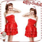 【送料無料】短納期 クリスマス衣装 レッド サンタ コスプレ コスチューム ワンピース サンタ帽子 パーティードレス 女性用 レディース