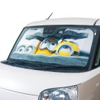マンホールミニオン[MINIONS]フロントガラス用サンシェード 軽自動車〜普通車サイズ:約60×130cm ホワイト ボンフォーム
