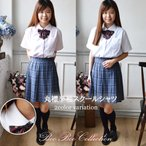 半袖丸襟スクールシャツ 正統派 制服 女子高生 通学 学生 中学 定番 ワイシャツ S M L XL