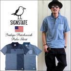 SIGN STATE インディゴ パッチワーク 半袖ポロシャツ サインステイト メンズ アメカジ