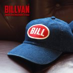 キャップ BILLVAN ワッペン刺繍BILLウォッシュデニム ワークキャップ  ロークラウンタイプ シックスパネル ビルバン メンズ アメカジ