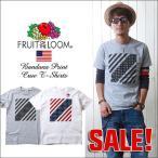 FRUIT OF THE LOOM バンダナ風プリント・クルーネックTシャツ アメリカンフラッグA/メンズ アメカジ 冬物