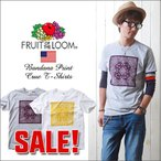 FRUIT OF THE LOOM バンダナ風プリント・クルーネックTシャツ ペイズリー/C メンズ アメカジ