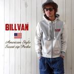 BILLVAN ヘビースウェット フロッキープリント ZIPパーカー COTTON USA メンズ アメカジ 送料無料 冬物