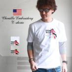 プリント×サガラ刺繍 SPEND WHILE クルーネック半袖Tシャツ A柄 メンズ アメカジ