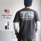 レトロイラスト風 バックプリント SATISFACTION 米綿 半袖Tシャツ B柄