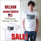 BILLVAN ビルバン×EASY RIDERインクジェットプリント コラボレーション アメカジTシャツ WHITE×BLACK メンズ アメカジ