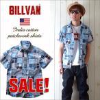 ショッピングパッチワーク シャツ BILLVANインド綿マドラス パッチワーク半袖シャツ ビルバン メンズ アメカジ