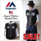 SALE Majestic マジェスティック NYヤンキース  オフィシャル レイヤード ベースボールシャツ NY メンズ アメカジ 2017 春 新作
