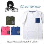 PRESTONS/ソフト&ライト/CottonUSA/ポケット切替え半袖Tシャツ/4カラー/アメカジ/メンズ