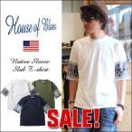 HOUSE OF BLUES 袖ネイティブ ジャガードニット スラブ ワイド Tシャツ メンズ アメカジ