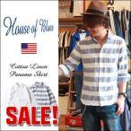HOUSE OF BLUES コットン リネン パナマ ワイドカラー 七分袖 シャツ メンズ アメカジ 送料無料