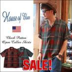 HOUSE OF BLUES 総柄チェック オープンカラーシャツ 1815220 メンズ アメカジ