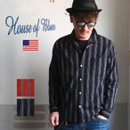 HOUSE OF BLUES ハウスオブブルース ドットストライプ オープンカラー 長袖レーヨンシャツ メンズ アメカジ 2019春新作 送料無料