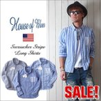 HOUSE OF BLUES 国産生地仕様 シアサッカー・ストライプシャツ JAPAN FABRIC メンズ アメカジ