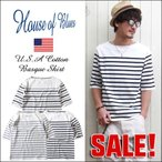 HOUSE OF BLUES ハウスオブブルース USAコットン 7分袖ボートネックTシャツ メンズ アメカジ