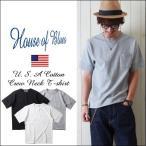 HOUSE OF BLUES ハウスオブブルース USAコットン ドビー・リブアクセント ポケ付Tシャツ メンズ アメカジ