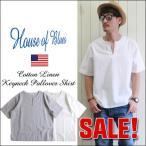 HOUSE OF BLUES ハウスオブブルース コットン・リネンパナマ生地 半袖キーネックTシャツ メンズ アメカジ