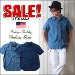 M&S インディゴ・ドビー織り 半袖ワークシャツ メンズ アメカジ