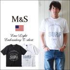 M&S 蓄光糸刺繍 SURF プリント クルー・Tシャツ メンズ アメカジ