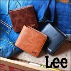 Lee リー 刺繍ロゴ 中ベラ付き レザー2つ折り財布 コンパクト メンズ アメカジ