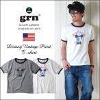 grn ヴィンテージ・ミッキー 半袖リンガーTシャツ MICKEY/721070 メンズ アメカジ