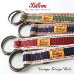 BILLVAN 日本製 セルヴィッジ・ヘビーコットン×本革使い Wリングベルト メンズ アメカジ 冬物