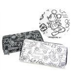 ミッキーマウス デッサン柄 ラウンドファスナー長財布 D1034 ディズニー 白黒 モノクロ 日本製