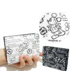 ミッキーマウス 二つ折り財布 L字ファスナー D1037 ディズニー 白黒 モノクロ 日本製