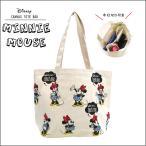 ショッピング仕切り Disney ミニーマウス レトロ キャンバストートバッグ 中仕切りトート ディズニー 横型トート 中仕切り ペットボトルポケット 収納上手 仕切り付き