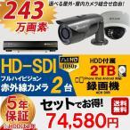 防犯カメラ 屋外 屋内 防犯カメラセット 選べるカメラセット 9点セット HD-SDI 243万画素 監視カメラ2台 HDD 2TB付 (要取り付け) スマホ対応 録画機能付き 4CH