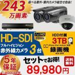 防犯カメラ 屋外 屋内 防犯カメラセット 選べるカメラセット 10点セット HD-SDI 243万画素 監視カメラ3台 HDD 3TB付 (要取り付け) スマホ対応 録画機能付き 4CH
