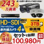 防犯カメラ 屋外 屋内 防犯カメラセット 選べるカメラセット 10点セット HD-SDI 243万画素 監視カメラ4台 HDD 3TB付 (要取り付け) スマホ対応 録画機能付き 4CH