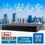 防犯カメラ 監視カメラ 録画 ネットワークレコーダー 4000GB大容量HDD内蔵 PoE (RD-RN5004)