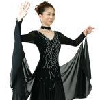 わけあり 社交ダンス衣装 モダンドレス ウイング付き 黒 Sサイズ