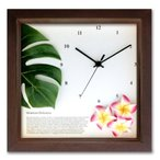 アジアン ・ ハワイアンにおすすめインテリアクロック 掛け時計 モンステラ/プルメリア(PK)/BR