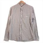 インディヴィジュアライズドシャツ INDIVIDUALIZED SHIRTS スタンドカラー コットン ストライプ シャツ 紺×白 16-34【中古】