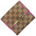 Gucci グッチ GG Wホック 財布 キャンバス レザー ベージュ ピンク 中古Bランク 二つ折り さいふ サイフ コンパクト 財布