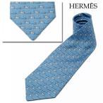 エルメス ネクタイ HERMES メンズ ネクタイ シルク100% ブルー/ライトグレー 005611T