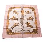 エルメス スカーフ HERMES スカーフ カレ90 シルクツイル パウダーピンク/ホワイト