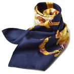 エルメス スカーフ HERMES スカーフ カレ90 シルクツイル マリン/ゴールド