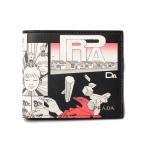 プラダ 財布 メンズ向け PRADA 折財布/札入れ 2MO513 VITELLO DNA/コミックプリント NERO/ブラック