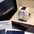 f2668 未使用 超美品 ユリスナルダン ミケランジェロ ジガンテ クロノメーター 自動巻き 革ベルト 黒ベルト メンズ 腕時計 273-68 レザー