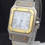 u5250 本物 カルティエ Cartier 腕時計 稼働中 サントス ガルベ SM スクエア型 コンビ 白文字盤 レディース 純正ベルト 自動巻き