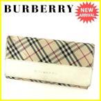 バーバリー BURBERRY がま口長財布 二つ折り財布 レディース ノバチェック 中古 激安 人気 B848