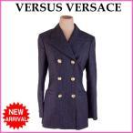 ヴェルサス・ヴェルサーチ VERSUS VERSACE ジャケット レディース ♯2640サイズ ダブルテーラー チョークストライプ 中古 良品 人気 G549